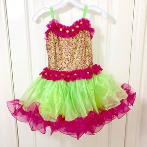 Fuchsia Pink and Lime Green Dance Costume Sequin